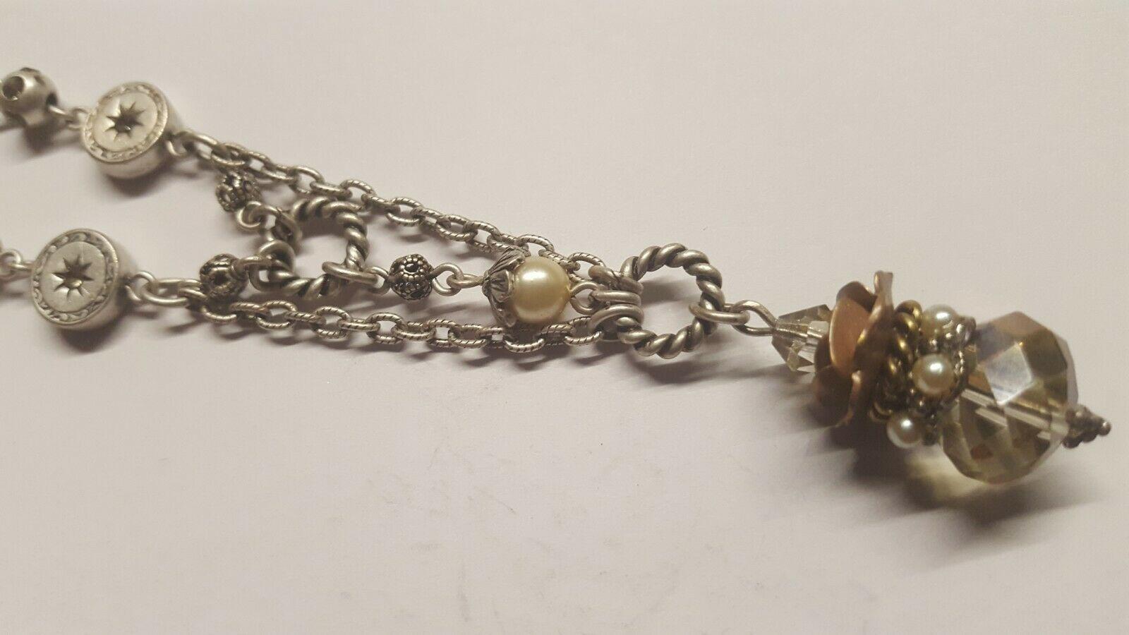 Sweet Romance Matt Silver Colour & Crystal Necklace