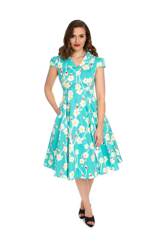 Anastasia Aqua Daisy 1950s Style Dress Size 18