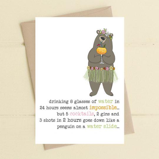 Dandelion 8 Glasses Of Water Card