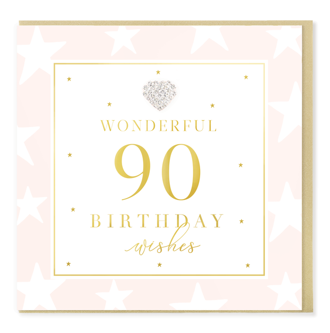 Hearts Designs 90 Wonderful Birthday Card