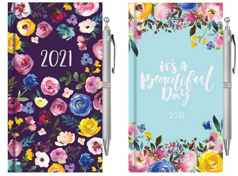 Vintage Floral 2021 Diary With Pen REDUCED