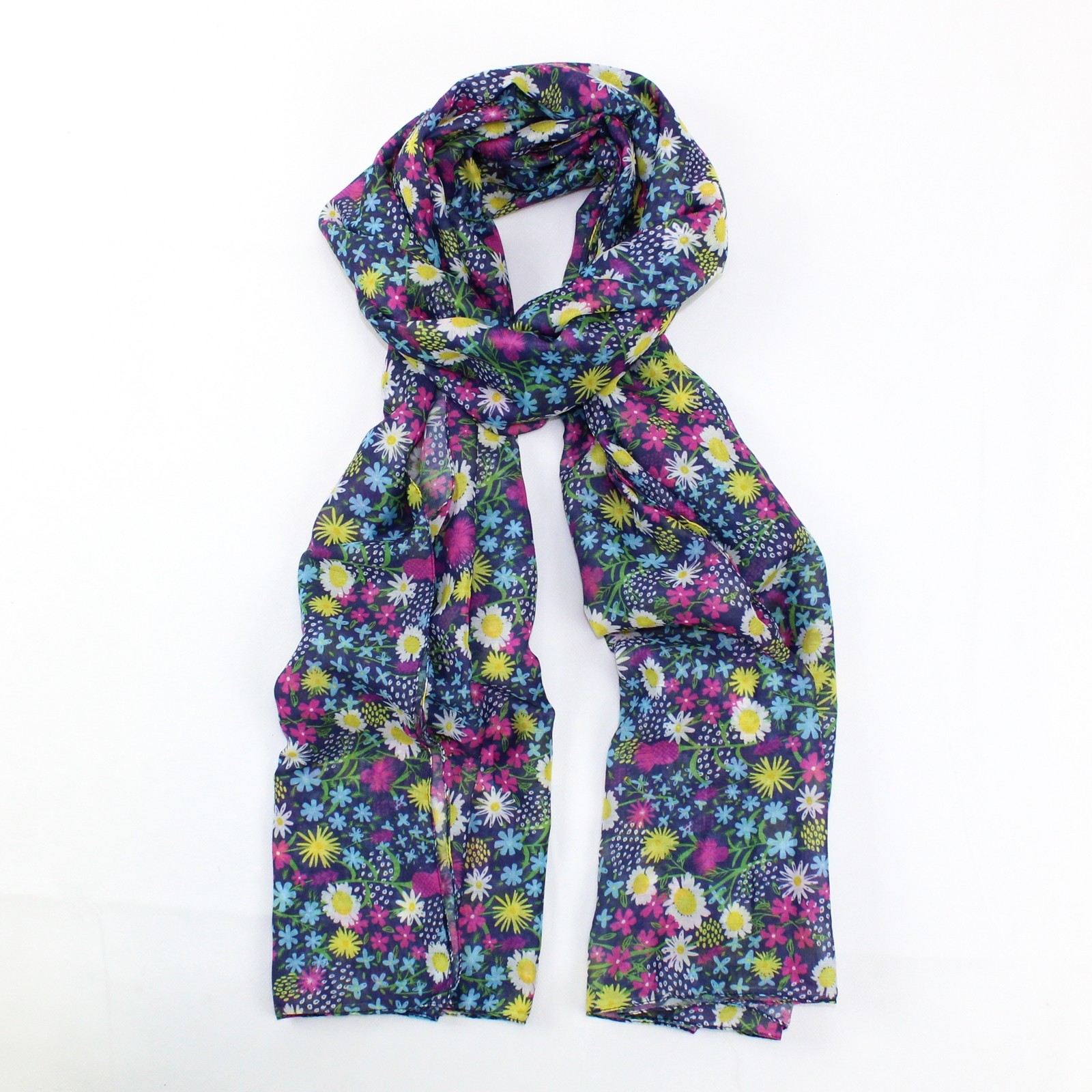 Wild Flowers Scarf Dark Grey SALE HALF PRICE