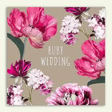 Floral Ruby Wedding Card
