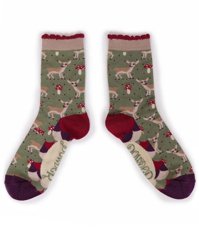 Powder Ankle Socks Baby Deer Green