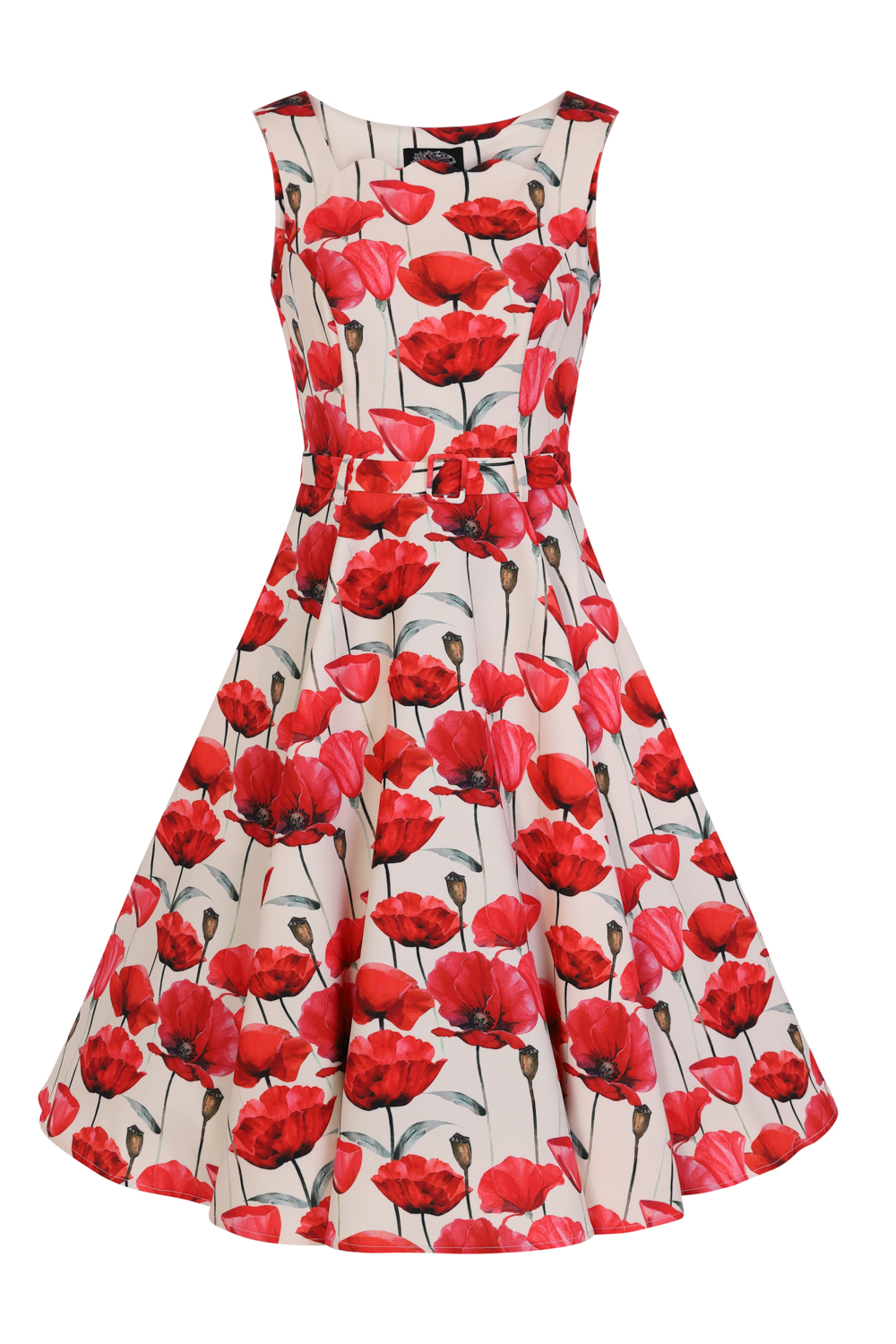 Poppy Red Floral 1950s Style Dress 8