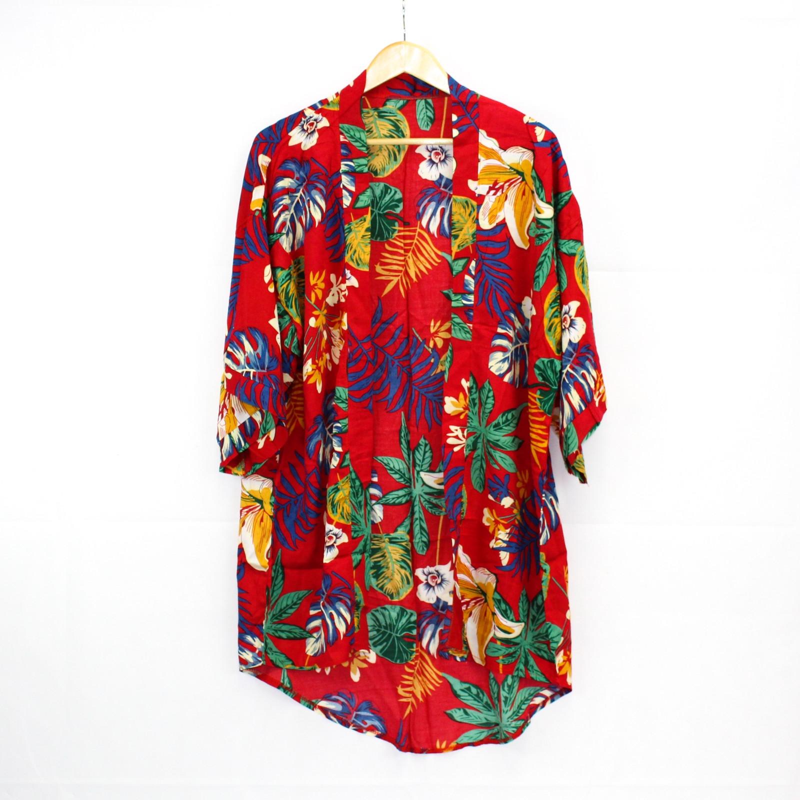 Ume Red Tropical Print Kimono