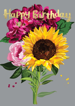 Bright Floral Happy Birthday Sunflower Card