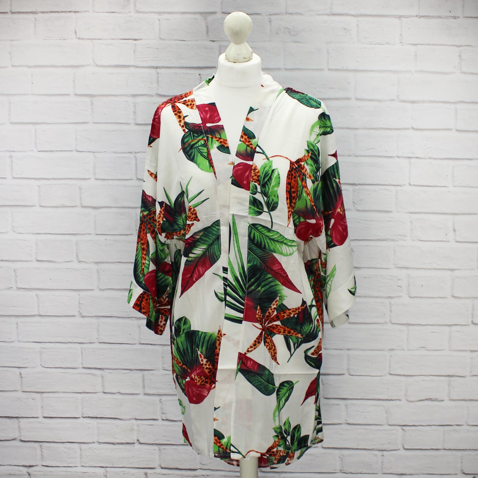 Chika White Tropical Floral Kimono
