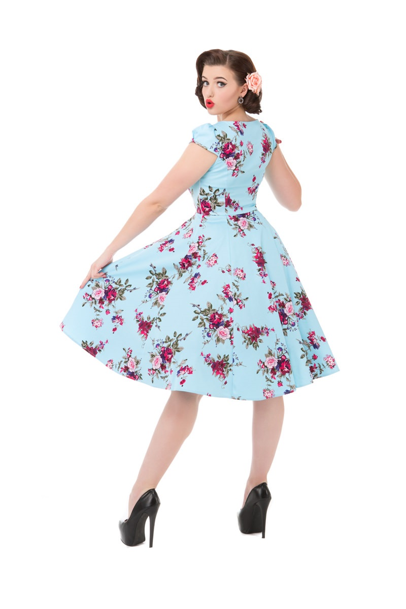 Darcey Blue Floral 1950s Style Dress 16