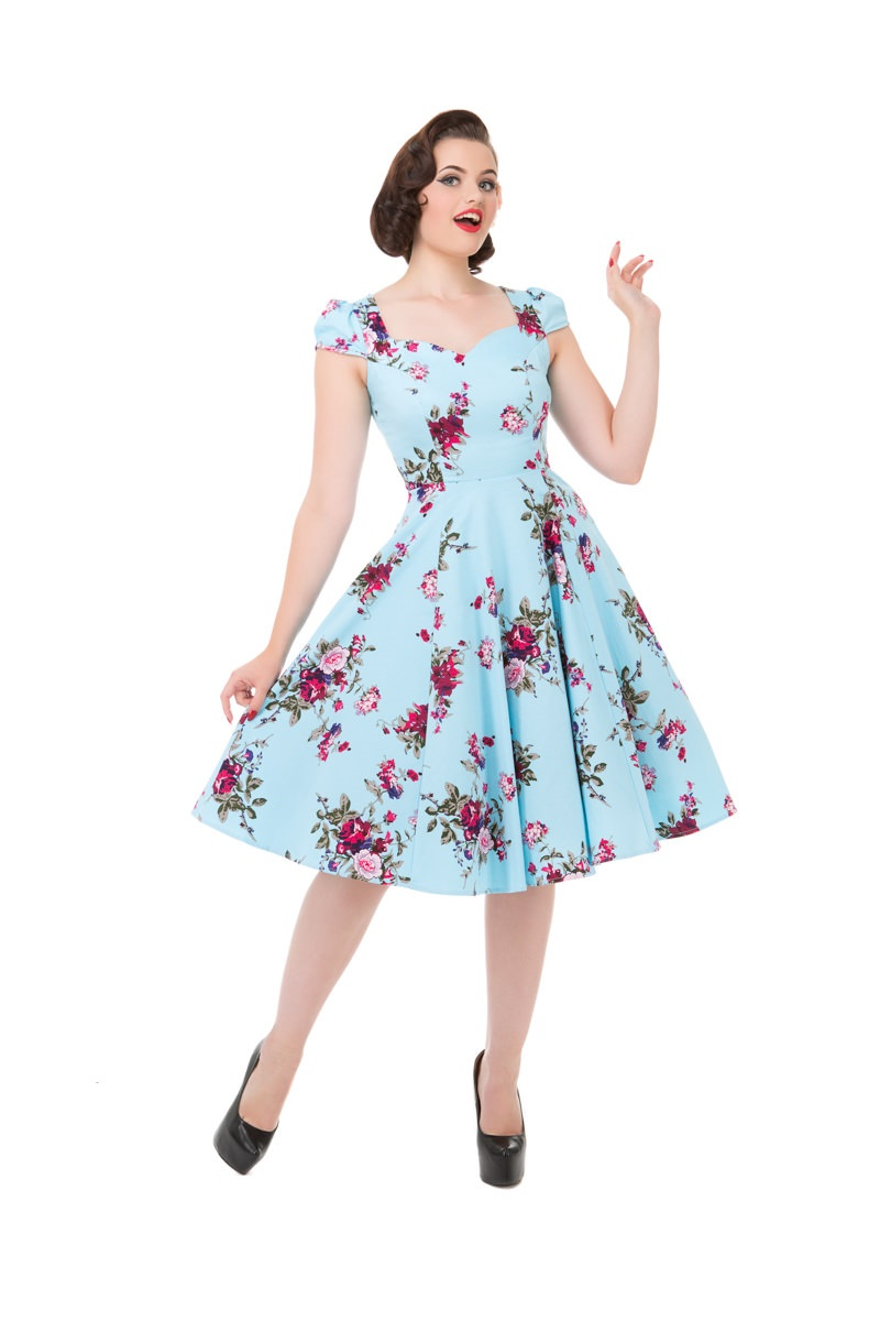 Darcey Blue Floral 1950s Style Dress Size 16