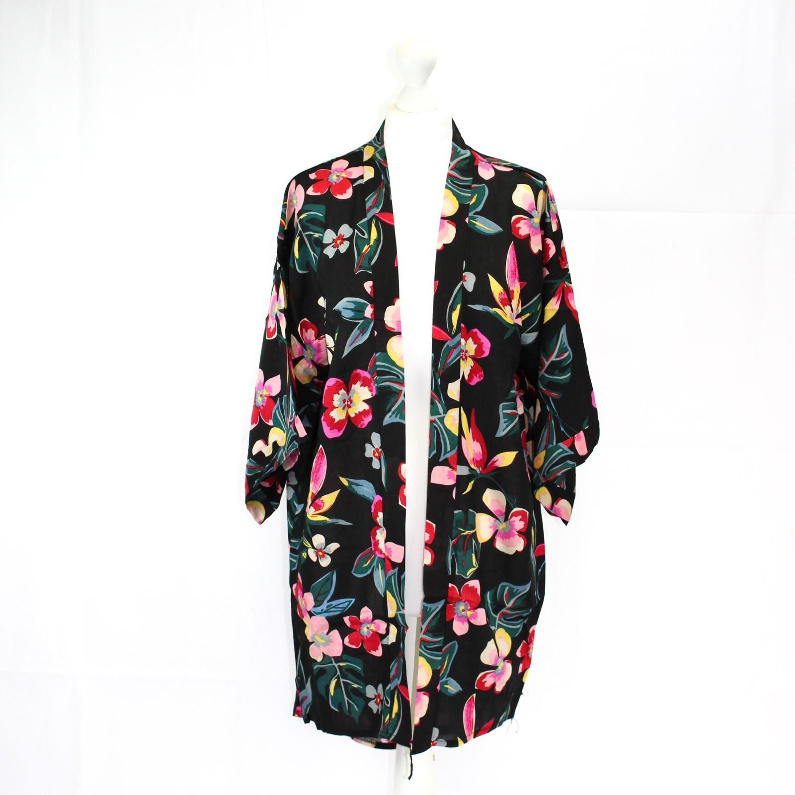Black Tropical Floral Kimono NBC
