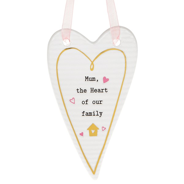 Thoughtful Words Mum Heart Of Our Family Heart Plaque