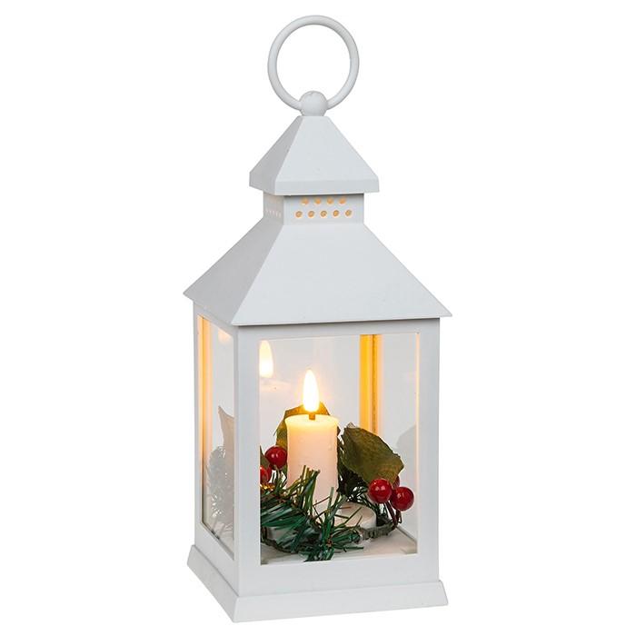 White Christmas Flame LED Lantern Small