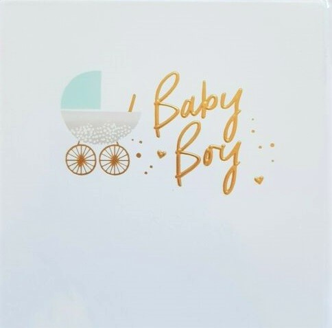 Gold Leaf Baby Boy Card