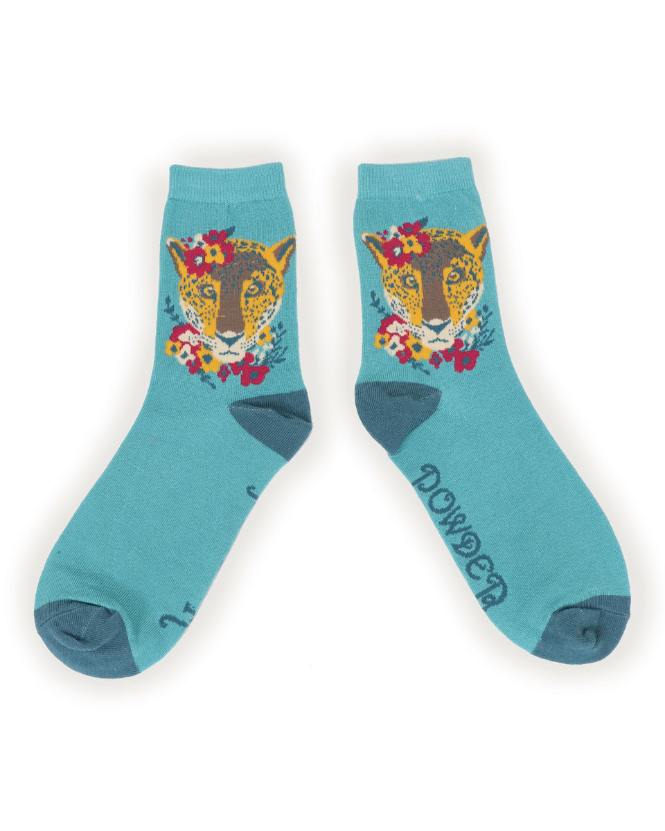 Powder Ankle Socks Leopard Floral
