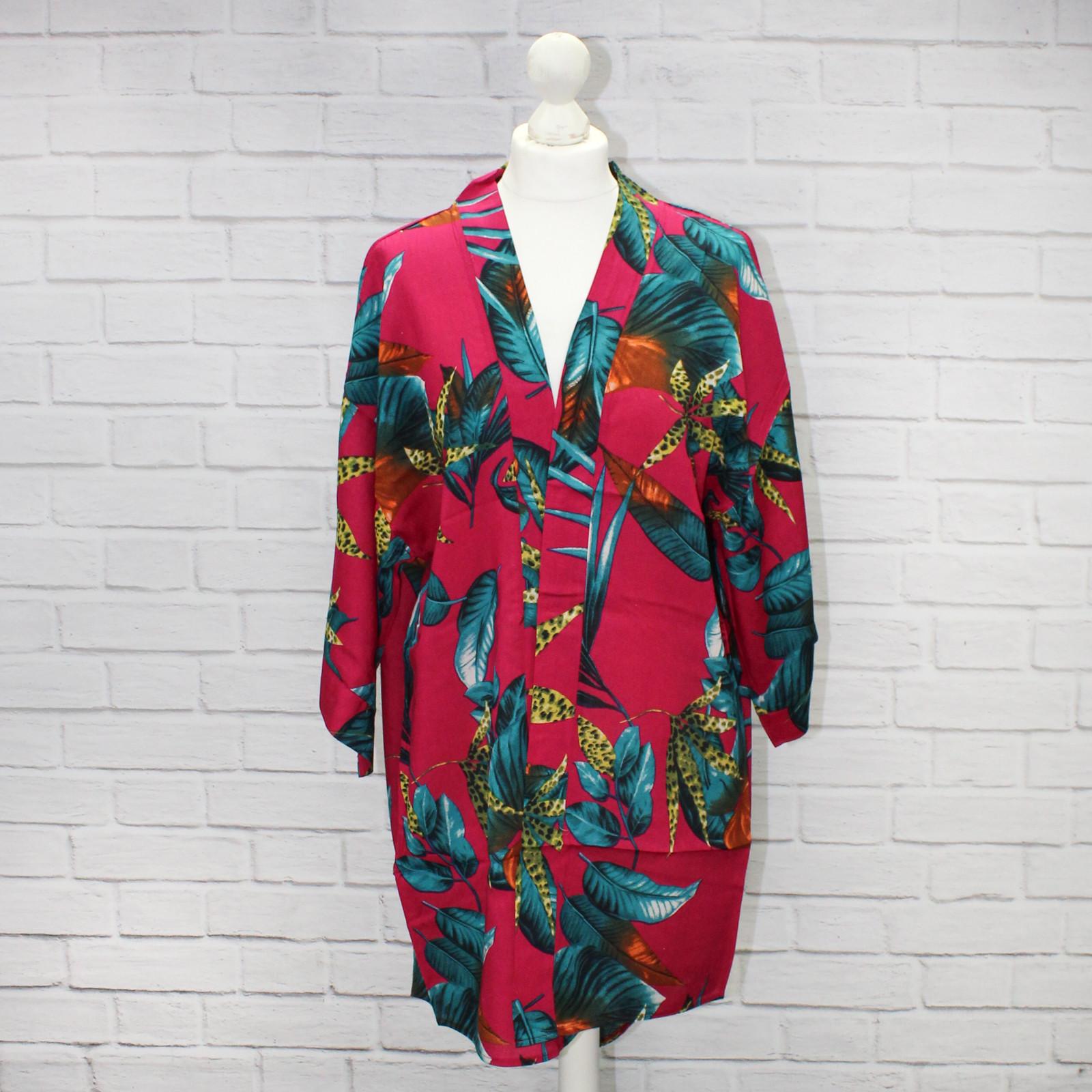 Chika Pink Tropical Floral Kimono