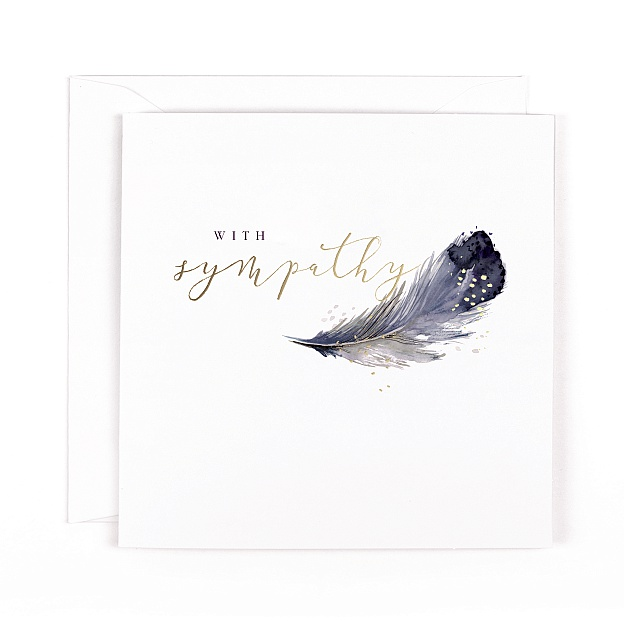 Swan Lake With Sympathy Feather Card