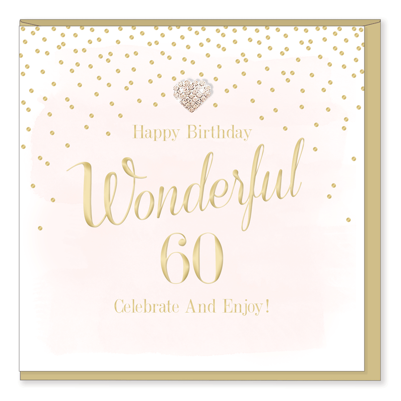 Hearts Designs 60 Wonderful Birthday Card