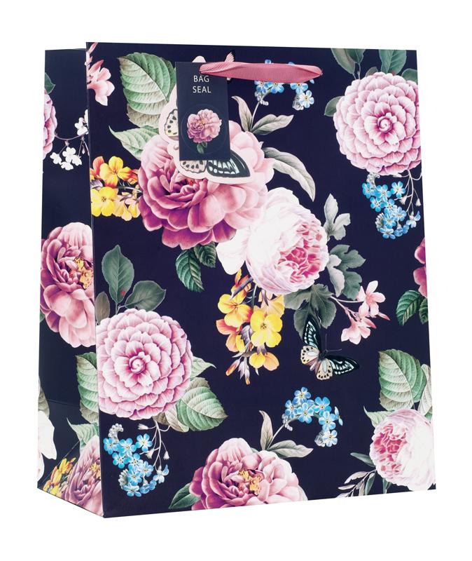 Gift Bag Medium Dark Floral