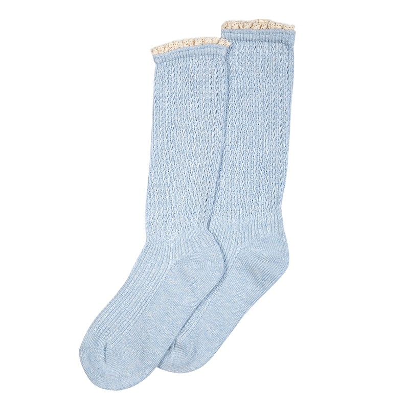 Millie Mae Socks Lace Top Pale Blue