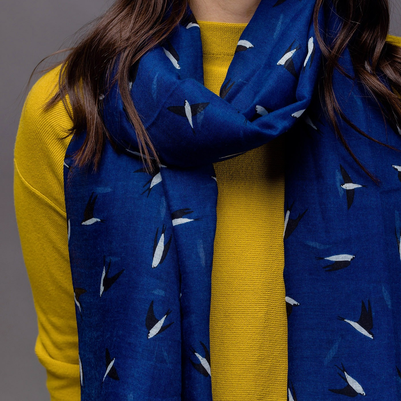 Swallow Scarf Blue