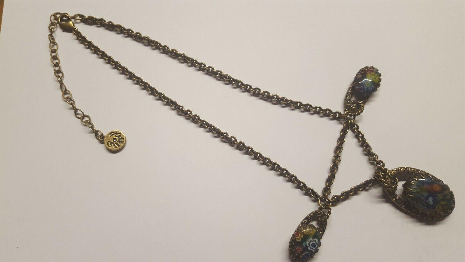Ollipop Retro Millefiori Glass Triple Pendant Necklace