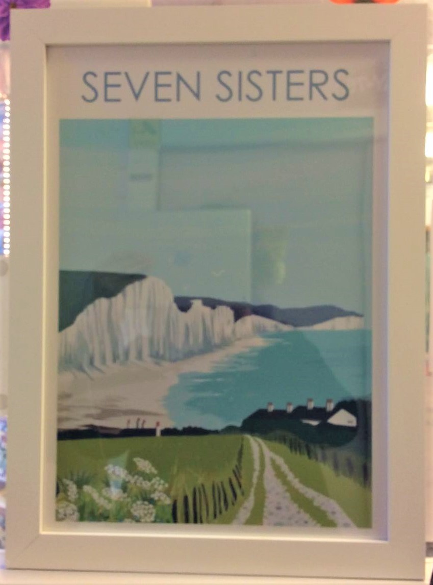 Seven Sisters South Downs A3 Print Framed