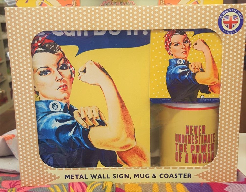 Vintage Sign, Mug & Coaster Set Rosie We Can Do It