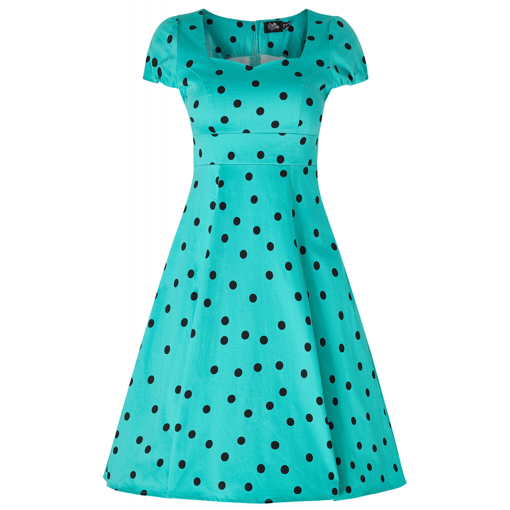 Amy Turquoise Polka Dot 1950s Style Dress Size 8