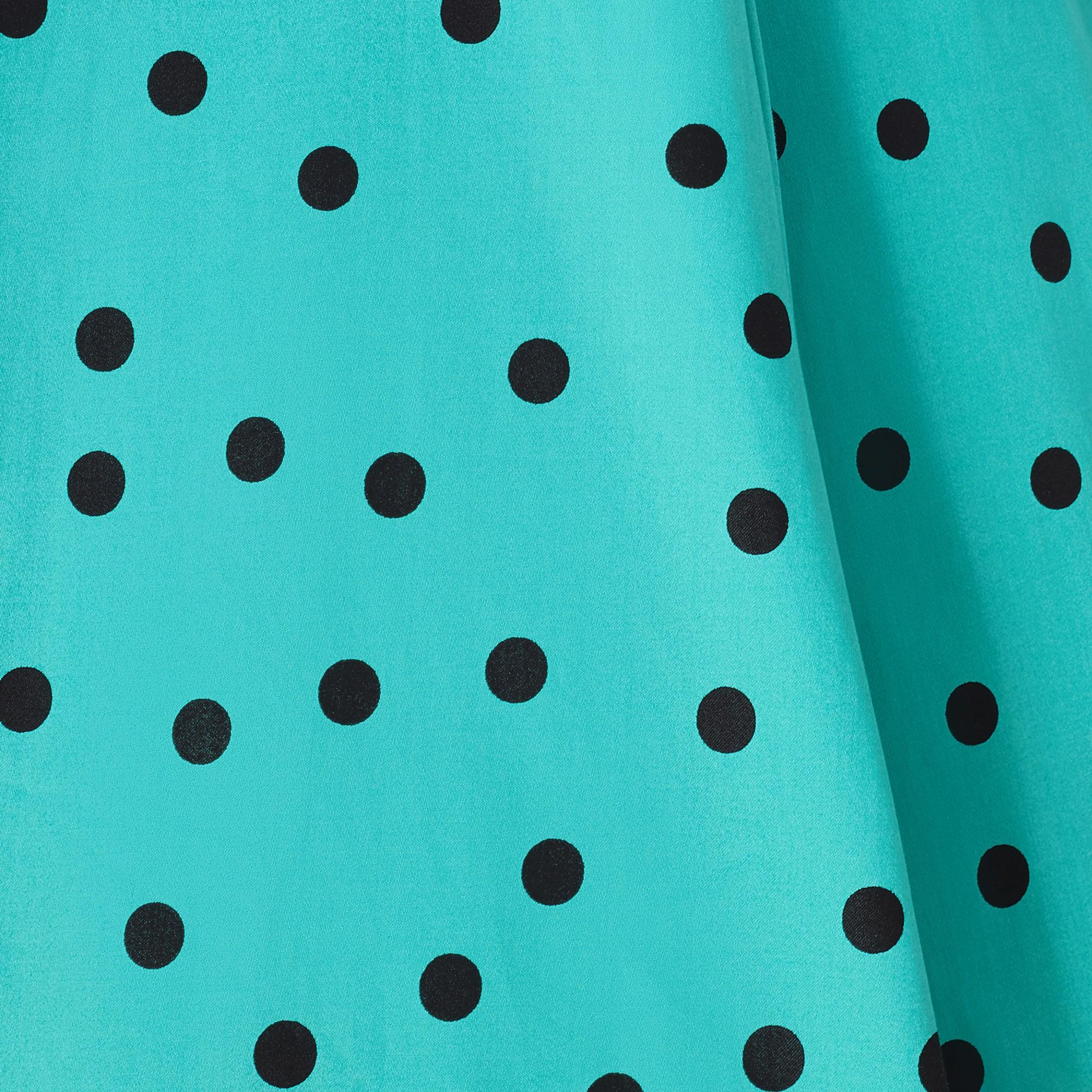 Amy Turquoise Polka Dot 1950s Style Dress 8