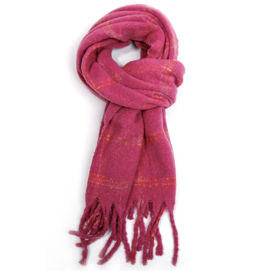Thick Squares Scarf Pink