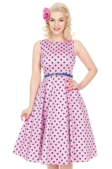 Layla Pink Polka Dot 1950s Style Hepburn Dress Size 22