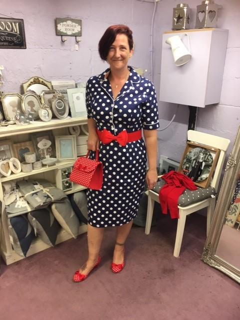 Belinda Navy Dot Wiggle Dress 10