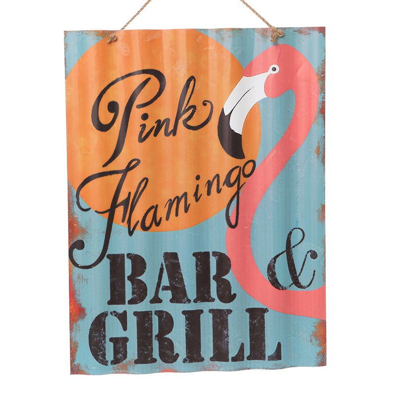 Pink Flamingo Bar & Grill Corrugated Sign