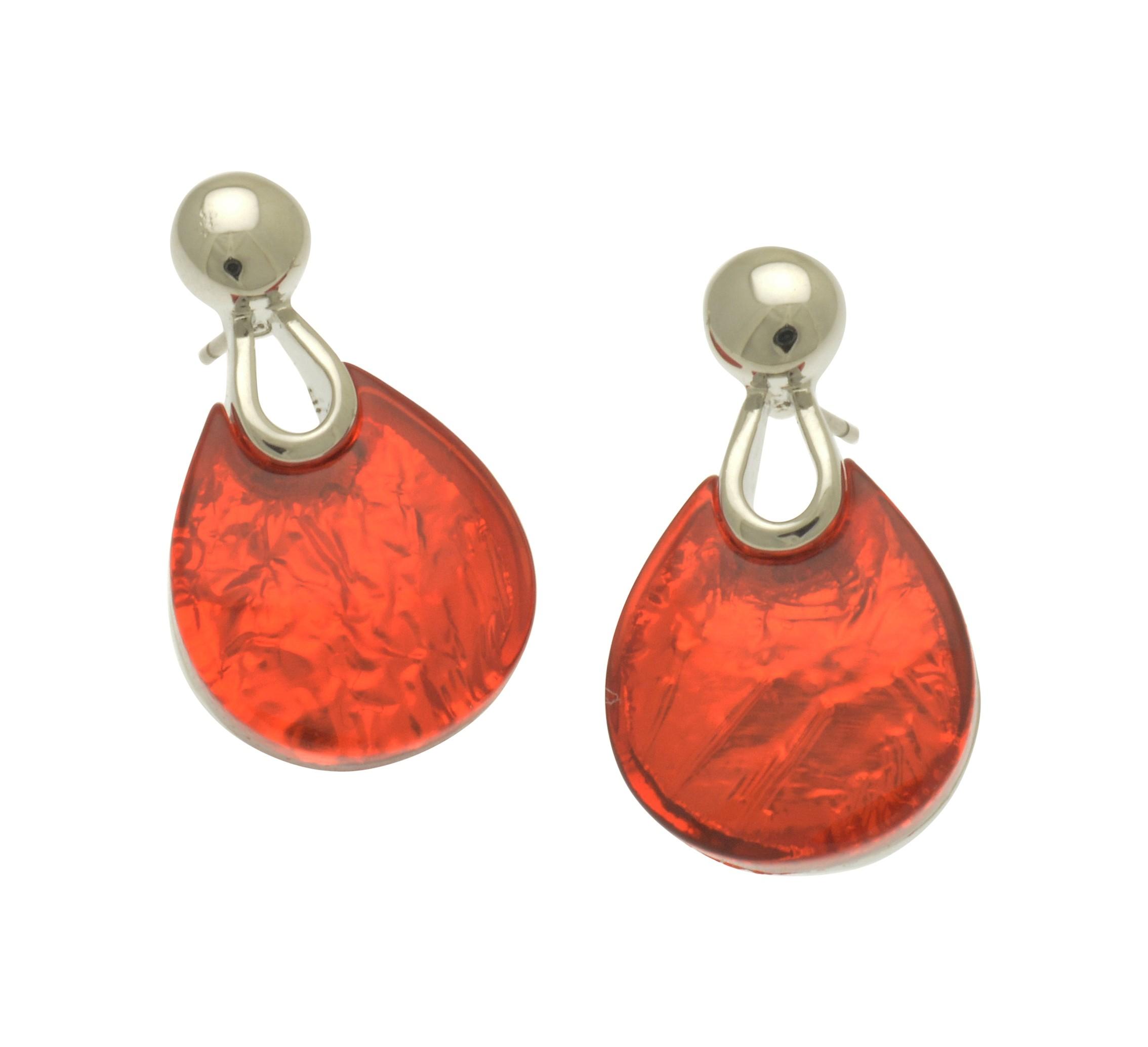 Orange Resin Punch Earrings