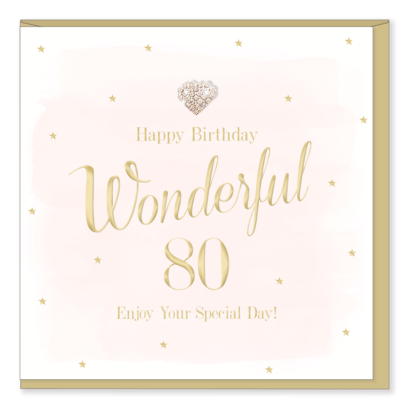 Hearts Designs 80 Birthday Card