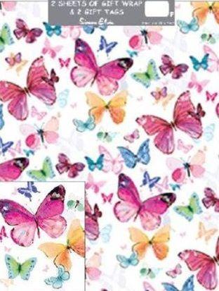 Gift Wrap Pack Bright Butterflies