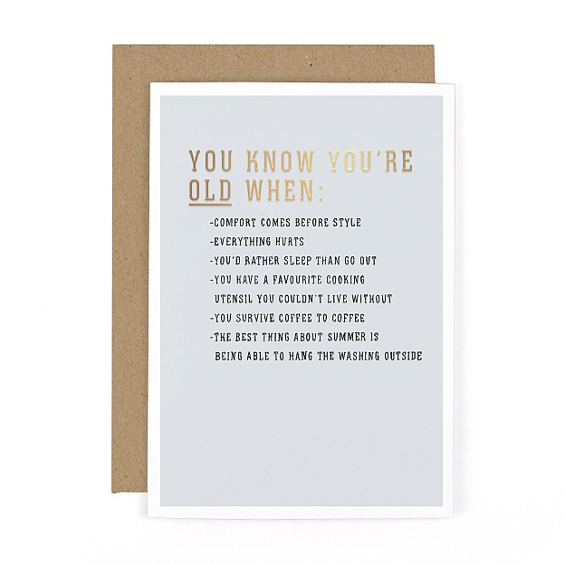 Gee Whiz You Know You're Old Card