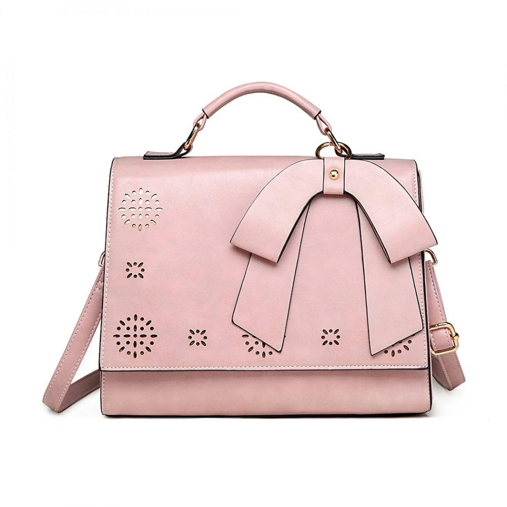 Bow Laser Cut Handbag Pink