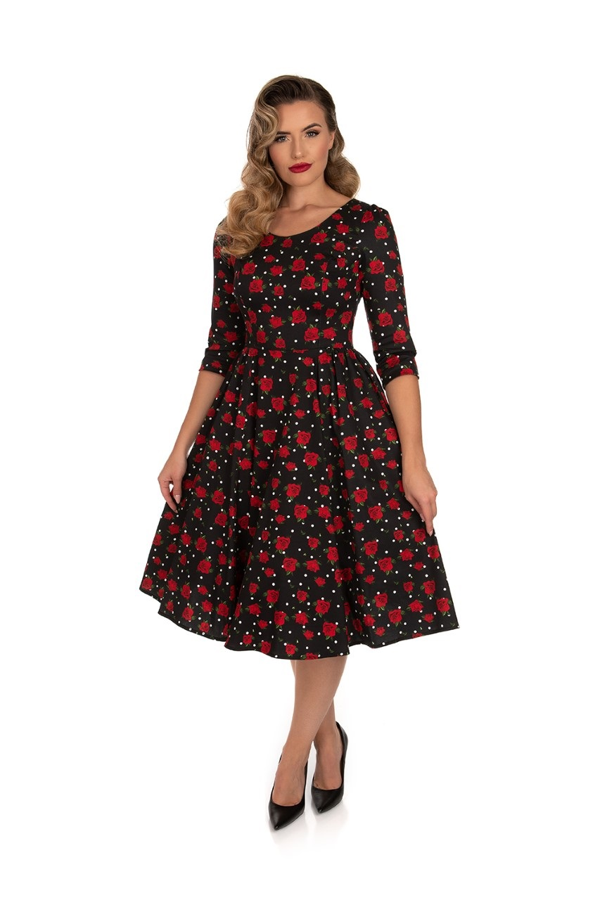 Scarlett Black Polka Dot & Rose 1950s Style Dress