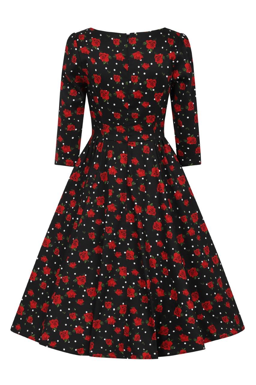 Scarlett Black Polka Dot & Rose 1950s Style Dress