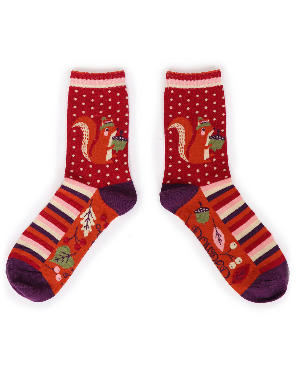Powder Ankle Socks Squirrel Red