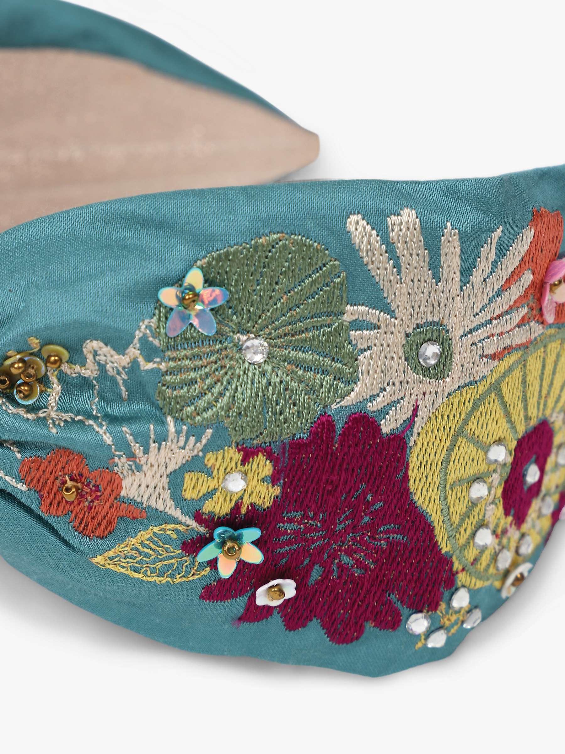 Powder Headband Floral Turquoise