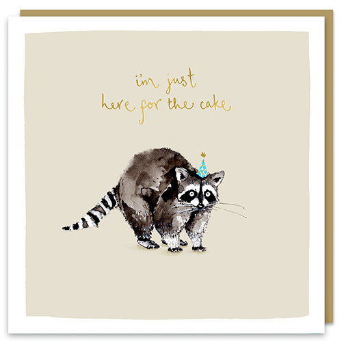 I'm Just Here For The Cake Raccoon Card