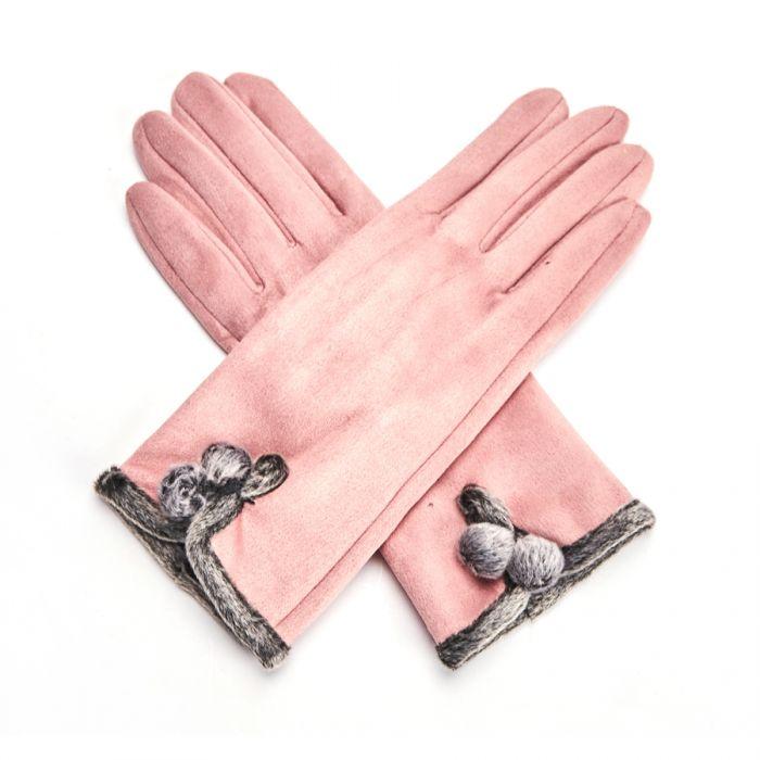 Vintage Gloves Pom Pom Dusky Pink