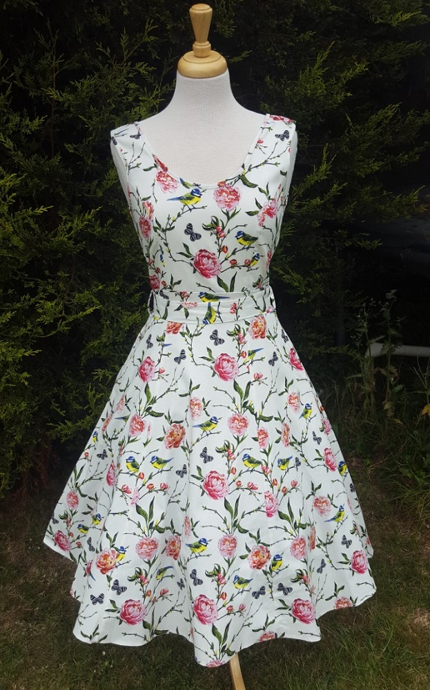 Blue Tits Floral White 1950s Style Charlotte Dress