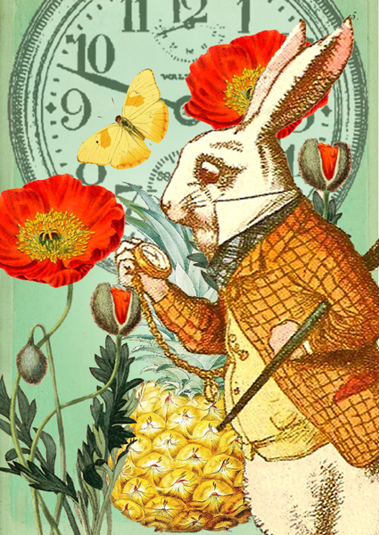 Alice White Rabbit Poppy Card