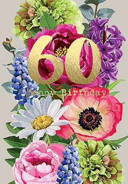 Bright Floral Happy Birthday 60 Card