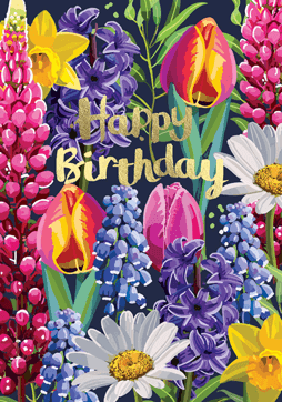 Bright Floral Happy Birthday Tulips Card
