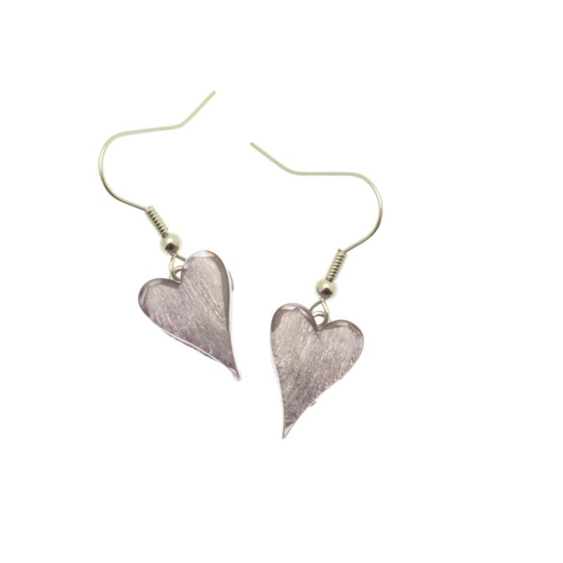 Lilac Resin Heart Earrings